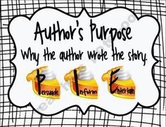 Author's Purpose Posters, Graphic Organizer & Chart