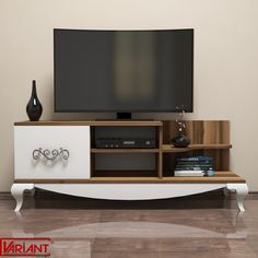 Comoda Tv Sultan - Alb/Nuc Tv Unit Furniture, Diy Furniture, Modern Tv Wall Units, Glass Shelves, Led Lamp, Teak, The Unit, Living, Home