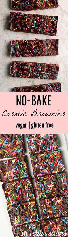 No-Bake Cosmic Brownies - Vegan | Gluten Free @sixvegansisters