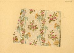 Rose and ribbon print on dotted swiss. Late 19th century.