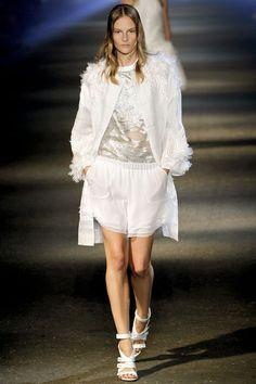 Feather Jacket, Layered Sheer Shorts, Metalic Top | SS2013RTW | NYFW