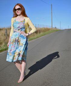 Boden nancy dress in blue riviera print