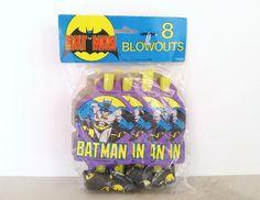 Vintage 80s Batman Blowouts Birthday Party Gift Bag Favors Noisemakers Dc Comics #Unique #BirthdayChild
