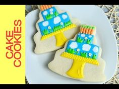 Spring Birthday Cake Cookies Tutorial, Decorating with Royal Icing (+pla...