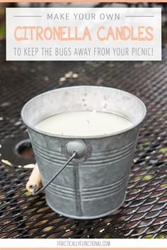 Garden Designs Objects Ideas 2018 : This DIY outdoor citronella candle is perfect for keeping bugs away while you're outdoors this summer! And since it's homemade you know there aren't a ton of chemicals in it! Outdoor Candles, Diy Candles, Homemade Candles, Outdoor Decor, Diy Garden Projects, Outdoor Projects, Craft Projects, Keep Bugs Away, Citronella Candles
