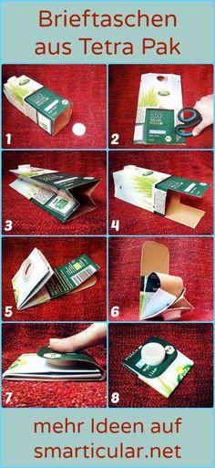 Mit dieser Anleitung bastelst du allein oder mit deinen Kindern schnell eine handliche Brieftasche aus alten Milch- oder Saftkartons.