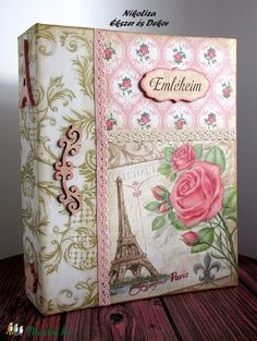 Vintage rózsás Párizs fotóalbum, nagyméretű (34) (NikoLizaDekor) - Meska.hu Techno, Decorative Boxes, Scrapbook, Vintage, Diy, Home Decor, Cartonnage, Pink, Craft