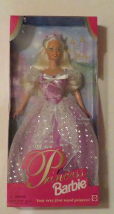 "1997 Barbie 12"" Doll Princess Barbie in Purple Dress NRFB"