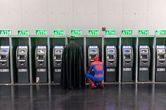 Batman and Spiderman at the ATM. Comic Con, New York 2014. @ sigurjon.com