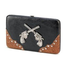 Ladies Wallet Clutch Handbag Western with Jeweled Pistols Guns Cowgirl Cowboy