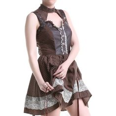 Brown Steampunk Dress with Black Stripes | Crazyinlove UK