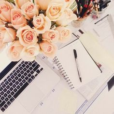 looks like fun working in a gorgeous workspace with nice flowers - bywstudent