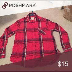 Red/stripped buttoned shirt Red with a few designs on it. All the buttons are on the long sleeve. American Eagle Outfitters Tops