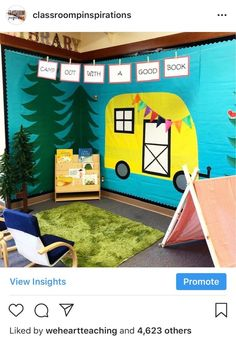 This camping-themed reading area from was our most-liked post of That camper is just too cute! Preschool Classroom Themes, Preschool Rooms, Toddler Classroom, Classroom Decor Themes, First Grade Classroom, Classroom Setting, Classroom Ideas, Camping Theme For Classroom, Space Classroom