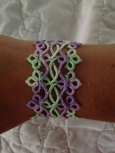 Handmade, shuttle tatted lace bracelet in purple and green on Etsy, $25.00