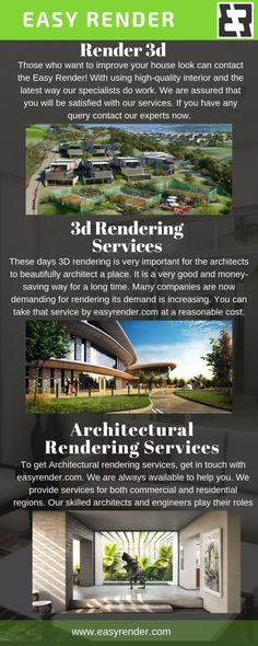 Those who want to improve your house look can contact the Easy Render! With using high-quality interior and the latest way our specialists do work. We are assured that you will be satisfied with our services. If you have any query contact our experts now. 3d Rendering Services, 3d Artist, Improve Yourself, Canning, Architecture, Interior, Easy, House, Arquitetura