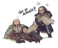 Sleeping in is nice ...  Kili, dwarf, The Hobbit, Tolkien, Thorin Oakenshield, Fili, Thorin