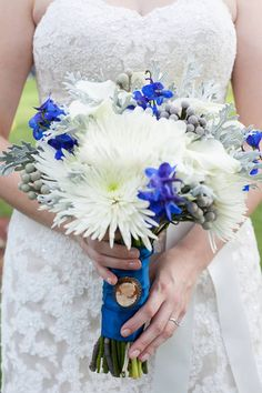 White and blue bridal bouquet. Imagine the possibilities - Blue Spider Mums, White-Light Blue Spider Mums, White-Blue Spider Mums...