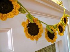 Handmade Hanging Crochet Springtime Sunflower Garland Free Pattern - Wall Decor, Room Decor