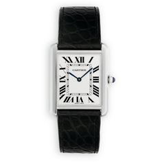 Cartier Tank Solo Large Stainless Steel & Alligator Strap Watch (2,931,685 KRW) ❤ liked on Polyvore featuring jewelry, watches, accessories, blue, bead jewellery, cartier watches, blue watches, beaded watches and cartier wrist watch