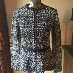 Host Pick!! Narciso Rodriguez sweater coat Narciso Rodriguez black and white sweater coat size medium. In excellent condition, worn once.  55% polyester, 45% acrylic. Narciso Rodriguez Sweaters