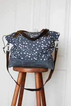 Shoulder Bag in Organic Cotton Canvas with by handmadetherapy