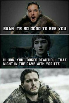 Game of thrones funny humour meme, Jon Snow, Bran Stark