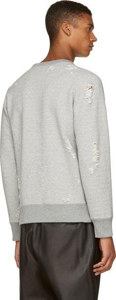 Miharayasuhiro: Gey Distressed Sweatshirt   SSENSE