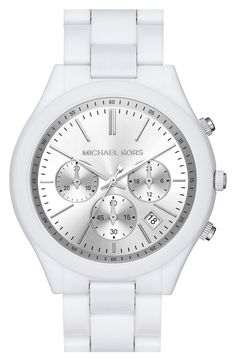 Crisp, and clean. This white and silver Michael Kors watch is going on the #NSale wishlist.