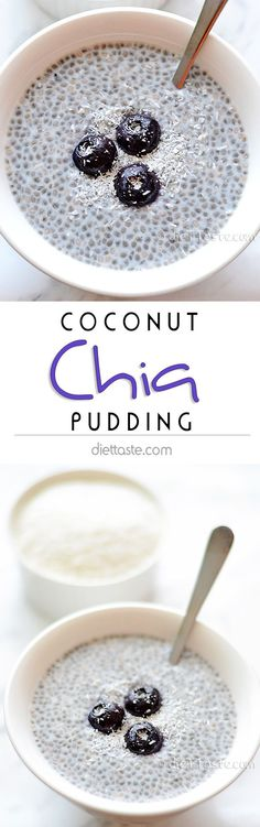 Coconut Chia Seed Pudding - creamy breakfast superfood that tastes like dessert; super easy to prepare - diettaste.com