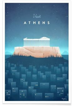 Athens vintage travel poster of a the Acropolis and Parthenon. Original Athens vintage travel poster by Henry Rivers. Buy a premium poster online! Tourism Poster, Poster S, Print Poster, Art Print, Travel Illustration, Retro Illustration, Vintage Travel Posters, Vintage Postcards, Minimal Travel
