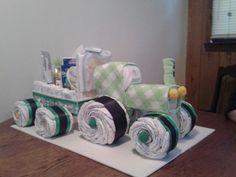 Tractor Diaper Cake Wagon cakepins.com