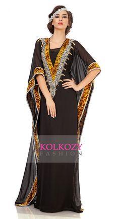 Graceful Black Embroidered Arabian Kaftan