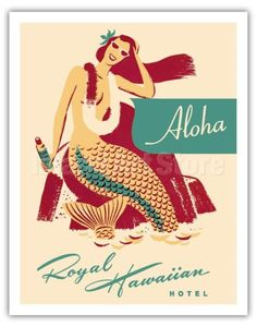 Buy Hawaiian Giclee Art Prints from recognized Hawaii Artists. Find a great collection of Vintage Hawaiian Art. Vintage Advertising Posters, Vintage Advertisements, Vintage Posters, Vintage Art, Hawaiian Art, Vintage Hawaiian, Tarot, Vintage Mermaid, Digital Illustration