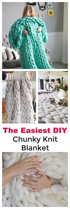Make your own easy DIY chunky knit blanket with jumbo needles or your arm. Includes YouTube instructions, where to buy yarn and pattern for knitting your own easy jumbo knit blanket. Beginner knitting project tips are included also. #chunkyknitblanket #