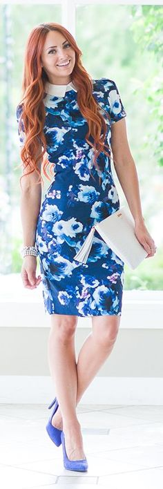 Navy Floral Collar Midi Dress by Little J Style