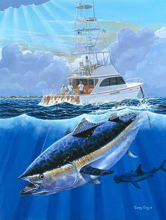 Bluefin Tuna Painting - Giant Bluefin by Carey Chen Sport Fishing, Fishing Boats, Fishing Rigs, Boat Illustration, Fish Artwork, Boat Drawing, Salt Water Fish, Deep Sea Fishing, Big Fish