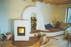 Amazing masonry heater design by Ralph Schürmann, Germany. Stove Fireplace, Rocket Stoves, Earthship, Wood Storage, Wood Boxes, My Dream Home, House Plans, Toddler Bed, New Homes