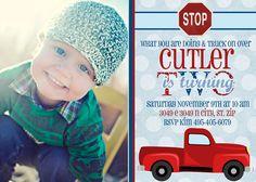 Classic Truck- Custom Birthday Invitation. Etsy.