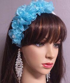Bridal Headband Aqua Aqua Flower Bridal by IrmasElegantBoutique