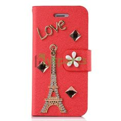 PU Leather Diamond 3D Eiffel Tower Wallet Protective Case for iPhone 5S 5 Red