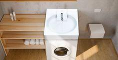 Le lavabo gain de place à poser sur une machine à laver standard ! A voir sur www.PlusDePlace.fr !