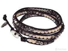 Boho Betty black sand triple leather wrap bracelet