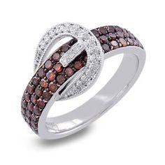 #Malakan #Jewelry - Platinum-Silver Treated Red Diamond Belt Ring 78391A1T #Fashion #FashionRings #WomensFashion