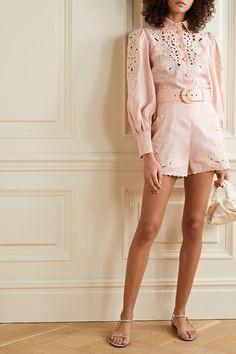 Zimmermann | Freja broderie anglaise-trimmed linen shorts | NET-A-PORTER.COM