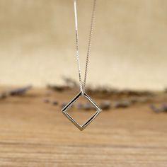 西西里菱形純銀項鍊/SN815-BLUMA布瑪小鎮設計師手作銀飾&復古飾品-