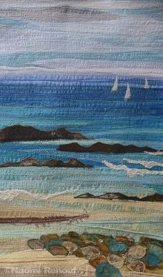 Textile Seascapes 2016 Home Deco Seascapes textile textile art Ocean Quilt, Beach Quilt, Landscape Art Quilts, Freehand Machine Embroidery, Fabric Postcards, Seascape Art, Fabric Pictures, Thread Painting, Painting Art