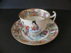 Filiżanka kolekcjonerska - Kanton Chiny XIX w. Kanton, Tea Cups, Tableware, Dinnerware, Tablewares, Dishes, Place Settings, Cup Of Tea