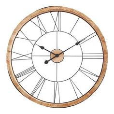 Handcrafted of rough-hewn wood and wrought iron, our handcrafted clock features Roman numerals. Hang it with confidence in your modern farmhouse, traditional or eclectic-themed room and discover true style—just in time. Cottage Living Rooms, Wood Clocks, Room Themes, Wooden Walls, Decorative Accessories, Accent Decor, Wall Decor, Wall Art, Carving