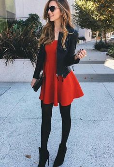 I love this outfit. Cute red dress with leather jacket. The color might be a little bold for my personal style.